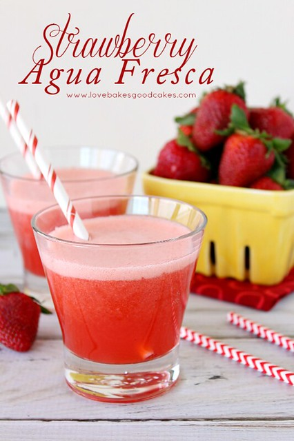 "Strawberry Agua Fresca - a refreshing fruit drink served throughout Mexico. Agua fresca means ""fresh water"" in Spanish! #strawberry #drink"