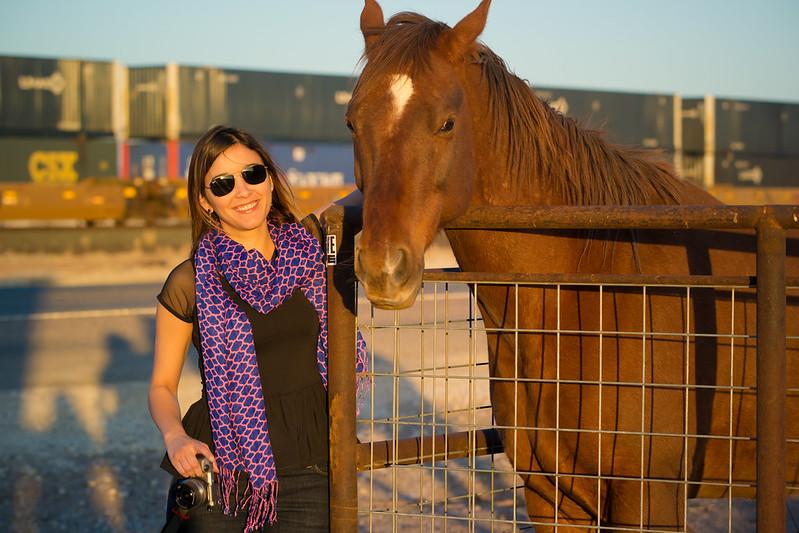 Deya Petting a Horse