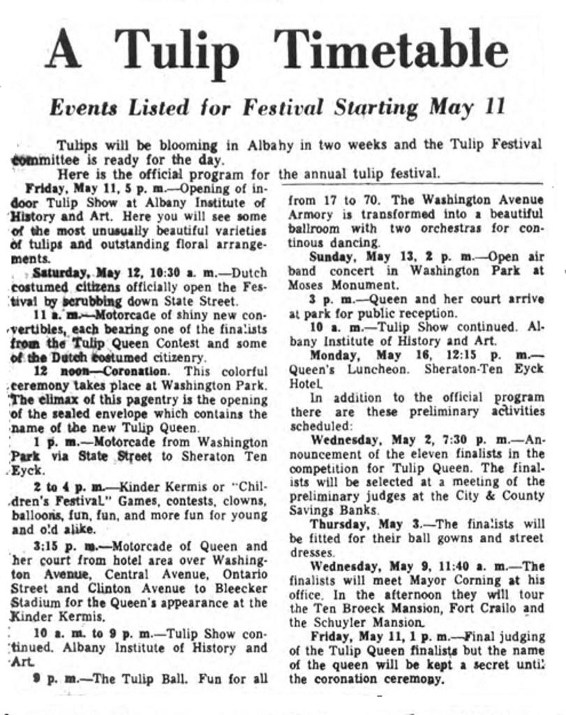 Tulip Festival Timetable 1962 albany ny 1960s