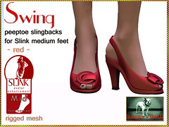 Bliensen + MaiTai - Swing - Peeptoe Slingbacks for Slink Feet - red Kopie