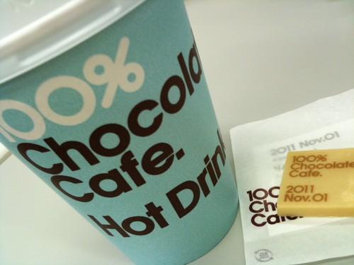 テイクアウトでも本日のチョコがおまけでつきます。@100% Chocolate Cafe.