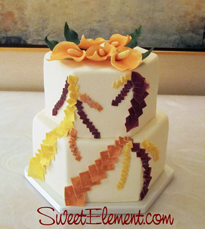 hexagon wedding cakes fall cascading sqares hexagon wedding cake flickr 15216