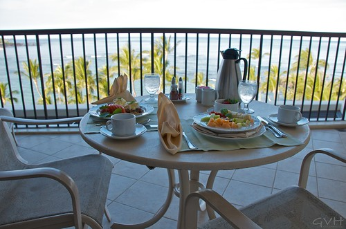 Breakfast on the lanai at Mauna Lani
