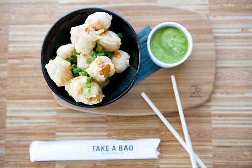 tofu popcorn with cilantro cashew chutney by TAKE A BAO