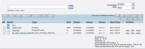 Giao diện quản lý thư mục giống giao diện của 000webhost.com