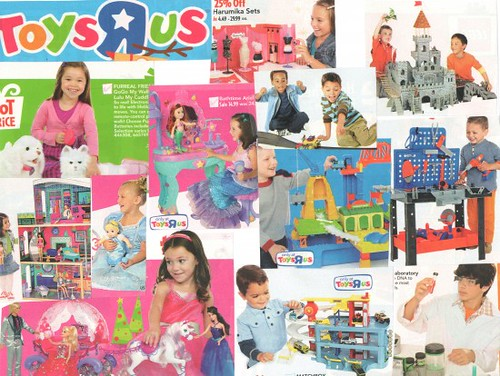 Images from 2010 Toys R Us Holiday circular showing girls with pink toys and boys with blue