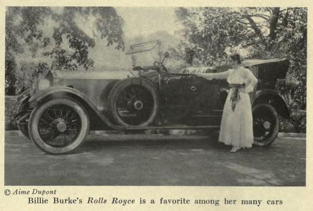 Billie Burke with her Rolls Royce 1917