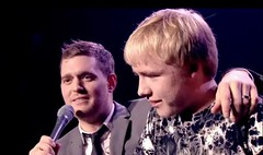 Michael Buble and Sam Holyman on stage