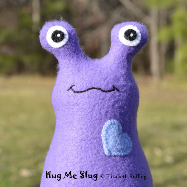 Fleece Hug Me Slug Art Toys by Elizabeth Ruffing, purple