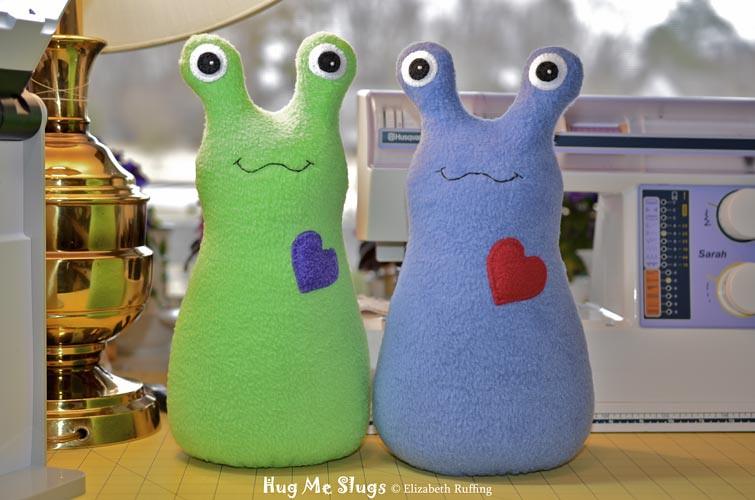 Fleece Hug Me Slug Art Toys by Elizabeth Ruffing, green and blue