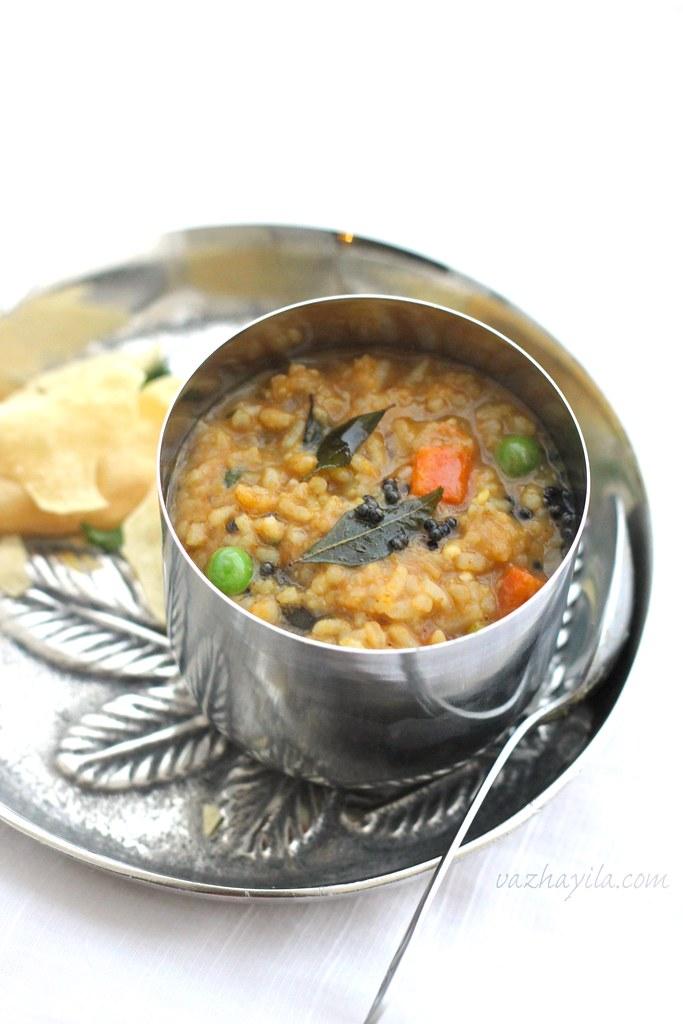 Sambar Rice Vazhayila -2