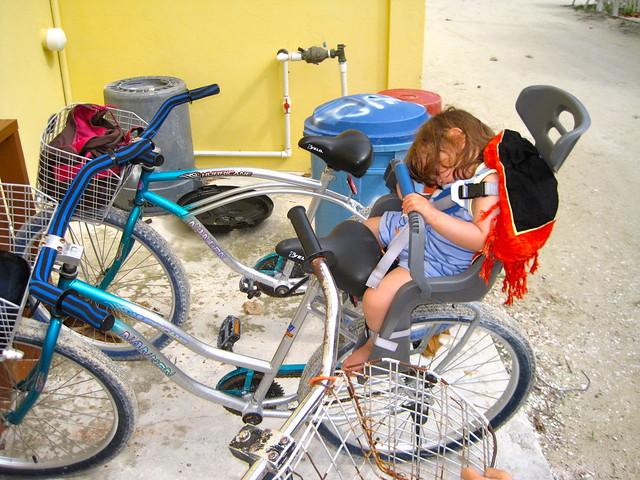 sleeping baby renting bikes caye caulker belize