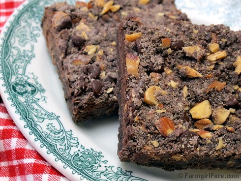 Easy Fudgy Chocolate Streusel Bar Cookies with Roasted and Salted Almonds 1 - FarmgirlFare.com