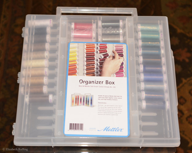Mettler 100% cotton thread set in organizer, photo by Elizabeth Ruffing