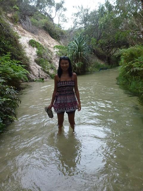 Walking along the stream