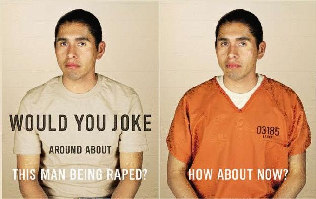 two images of the same Latino man side by side. In the first picture he wears a white t-shirt. The text reads, Would you joke around about this man being raped?. In the second image, he is wearing an orange prison jumpsuit. The text reads, How about now?