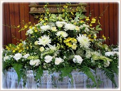 Bouquet of white Chrysanthemums and Carnations, Dancing Lady Orchids, greens and other fillers