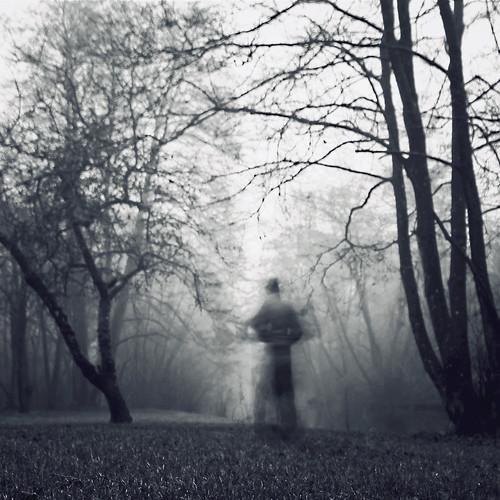 trees portrait bw selfportrait blur me monochrome landscape denmark blackwhite vinter danmark jutland jylland landskab 2011 selvportræt silhuet ghostlyfigure bevægelse uskarp hellebelle canoneos5dmrkii