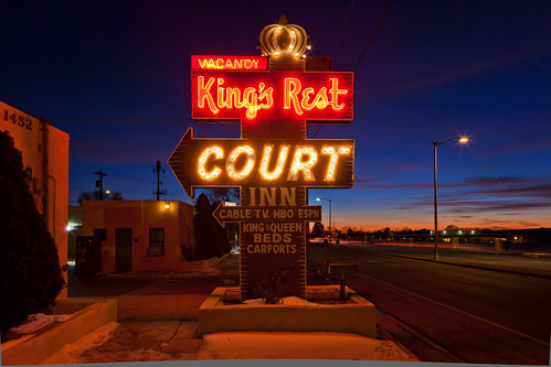 sunset newmexico santafe route66 neon motel bluehour motorcourt