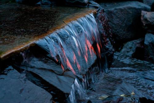 water sunrise fire pond falls firefall