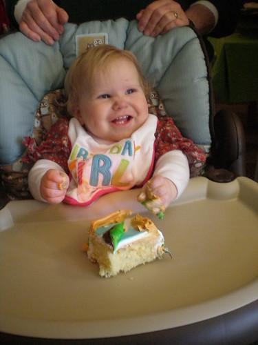 Starting on her cake