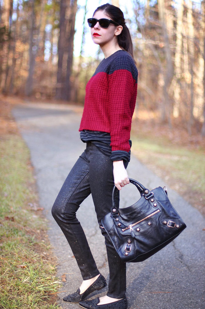 J Brand Glitter Jeans, Balenciaga Arena Giant City handbag, Two Tone Isabel Marant inspired Fashion Outfit