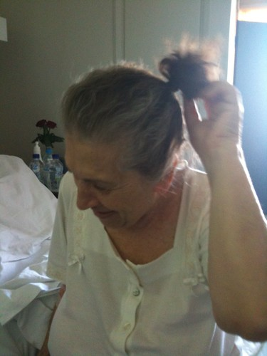 Grandma and her tiny ponytail :)