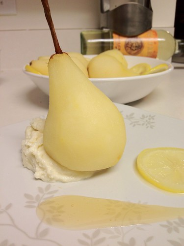 Poached pear plated