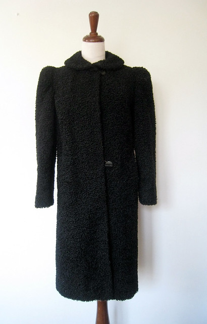 Faux Curly Lamb Fur Puff Sleeve Coat, Vintage 40s