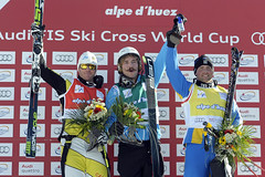Ski cross star Chris Del Bosco with his first World Cup podium of the season in Alpe d'Huez World Cup ski cross.