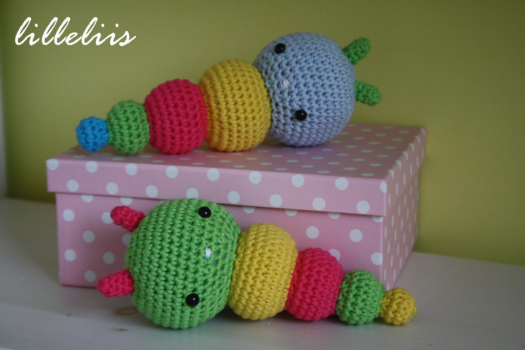 Colorful amigurumi caterpillar rattles for babies ...