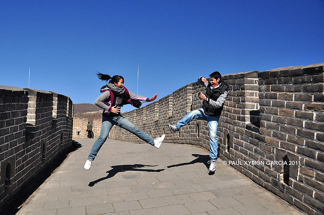Goofing off at the Great Wall, Beijing, China