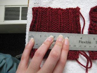 Swatching the ribbing
