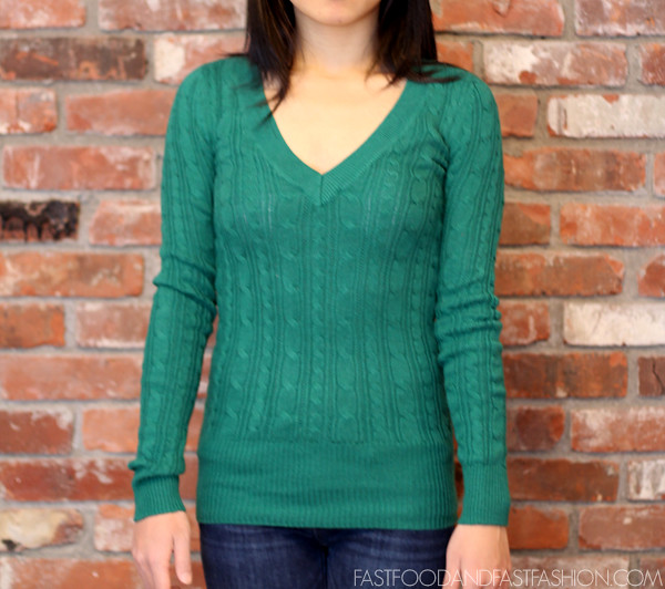 AE Long Cable Sweater American Eagle Green