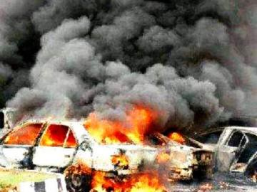 Cars destroyed in Kano, Nigeria during January 2012. The attacks have been blamed on Boko Haram. by Pan-African News Wire File Photos