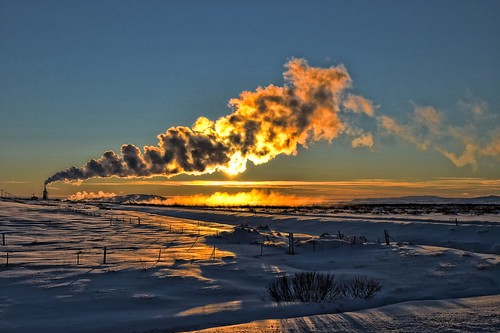 winter sunset cloud sun snow clouds fence iceland factory farm smoke smoking smokes barbwire laugarvatn