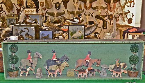 A cased set of 10 painted wooden figures depicting a hunting scene by  Mabel Lucie Atwell