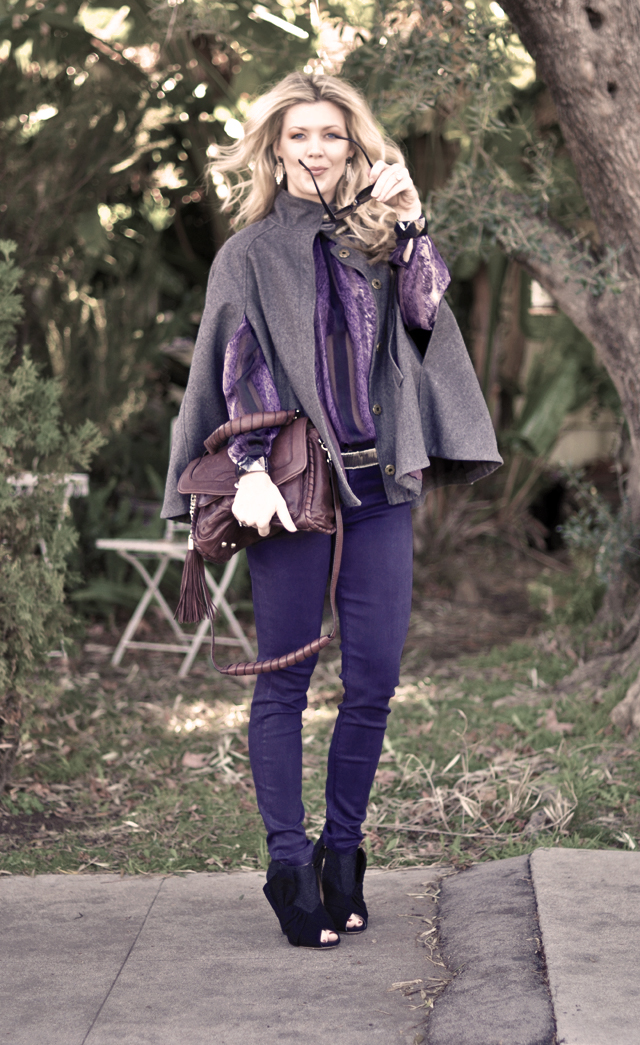 gray cape - purple outfit - miu miu shoes-burgundy bag