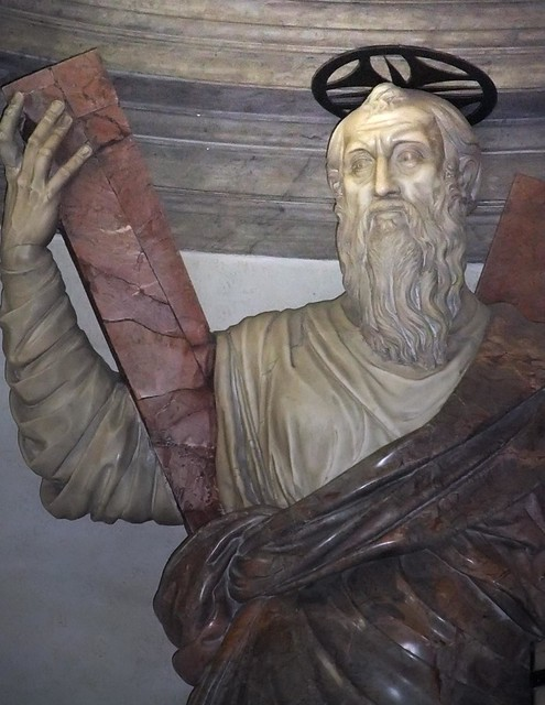 Sculpture of St. Andrew adorning the entrance to the Sacri ...