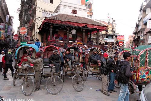 cycle rickshaws waiting for customers