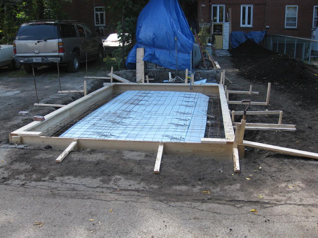 Dalle monolitique pour garage plancher et fondation en b ton - Epaisseur dalle garage ...