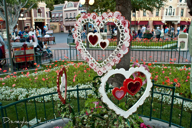 Valentine's Day Hearts in Town Square - Disneyland