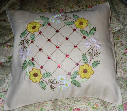 1950s Embroidered Cushion