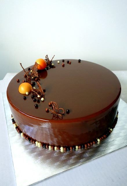 Chocolate cake, mirror glaze