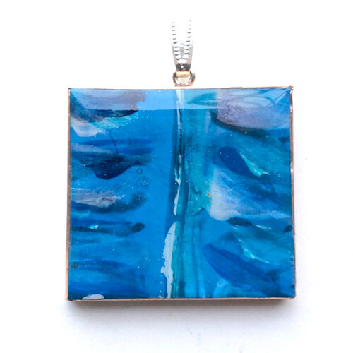 Papier Mache and Resin Blue Pendant from Etsy Shop HilaryBravo