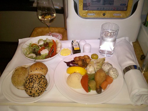 Emirates Business Class Food for the Arab kabob meal