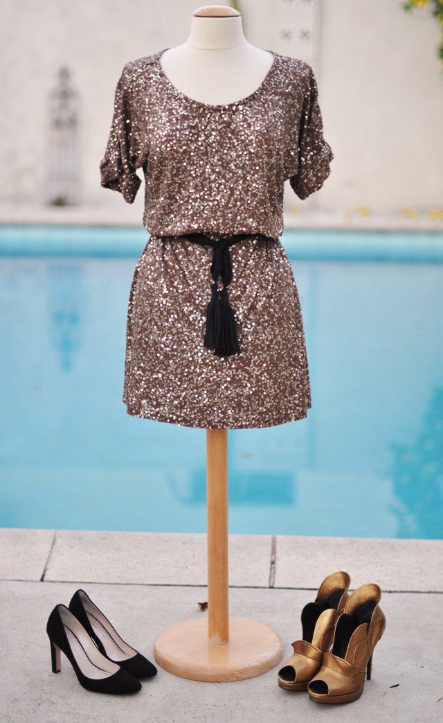brown sequin slouchy dress and shoes