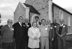 GAWLER RIVER FAMILY REUNION – 16th July 1989 150th anniversary of the arrival in South Australia of John and Ann Dawkins.Left to Right: Allan Dawkins, Boyd Dawkins, Campbell Dawkins, Louise Close, John Dawkins, Jim Pederick, Lance Dawkins, Sidney Ey, Dere