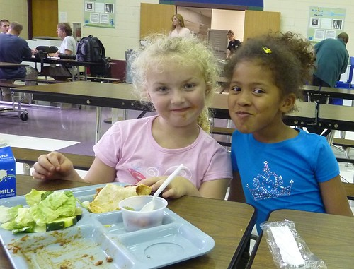 West Salem kindergarteners enjoy tacos, refried beans, Garden Bar, and grapes.