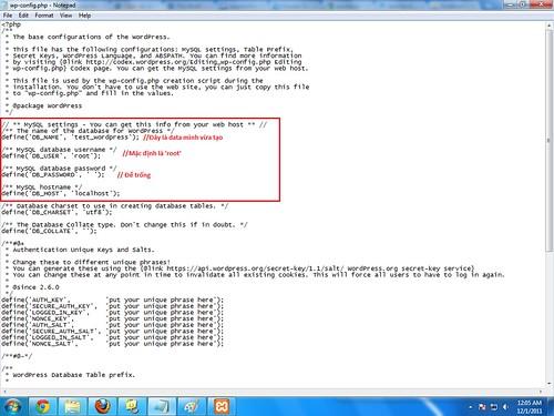 Cấu hình xong file Config.php của WordPress